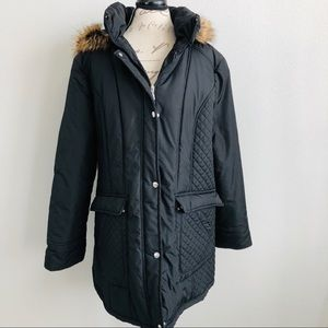 White Stag Quilted Jacket Detachable Faux Fur Hood